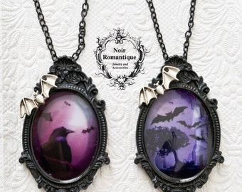 Gothic cameo  necklaces-brooches with bat or raven prints-CHOOSE PATTERN-gothic jewelry-halloween