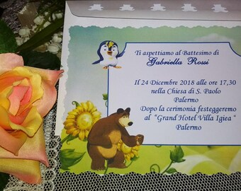 Call for Masha baptism and personalized bear with teddy bear envelope and print included