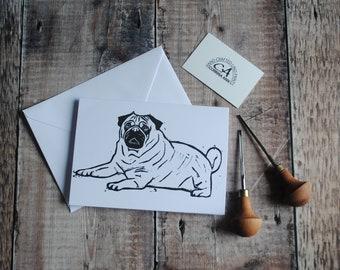 Pug Greeting Card & Envelope   Hand Printed Original Lino Print