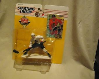 Années 1995 Kenner à partir gamme Chris Chelios Action Figure avec en scellé paquet de carte, collectionner, Hockey