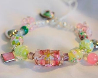 Pink and Green Lampwork Glass Beaded Bracelet