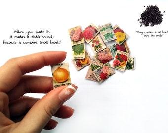 10 Dollhouse miniature garden seed plant packets 1:12 (10 random packets)