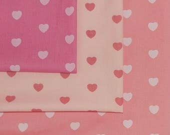 Set of 3 Lovely Pink Heart Polka Dot Fabric Fat Quarters- 100% Cotton