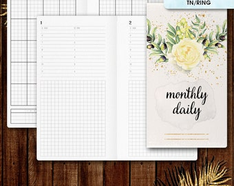 Personal inserts | DAILY planner printable, day on one page (filofax personal, TN inserts, tn personal inserts, travelers notebook)