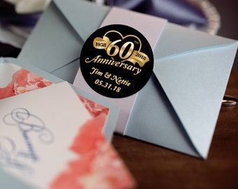 60th Anniversary Stickers, Custom Labels - Round Wedding labels -  Anniversary stickers - Wedding Favor Stickers - Thank You Stickers