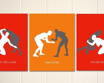 Boys wall art, wrestling, wrestlers, boys sports art, boys bedroom art, dorm poster, teen boy art, set of 3