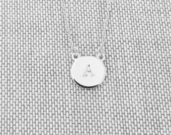 """Solid Sterling Silver Rhodium Plated Hand Stamped Disc Initial Necklace, 18"""" - for women, monogram necklace"""
