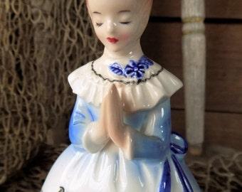 Vintage ENESCO Blue Prayer Lady Napkin Holder, 1950s Prayer Lady Kitchen Table Napkin Holder, Christian Religious Decor
