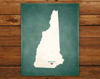 Customized New Hampshire State Art Print, State Map, Heart, Silhouette, Aged-Look Personalized Print