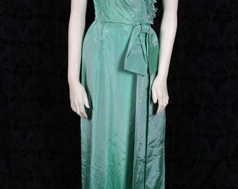 Vintage 70s 80s Alyce Designs Minty Green TAFFETA EVENING GOWN - bombshell prom