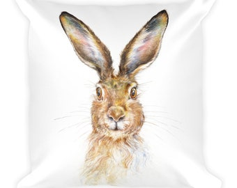 SALE  - HARE - Square pillow, 18x18 -  sHIP fROM USA