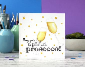 Prosecco card, Prosecco birthday card, congratulations card, alcohol card