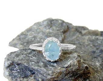 Aquamarine Ring in Sterling Silver - US Size 7