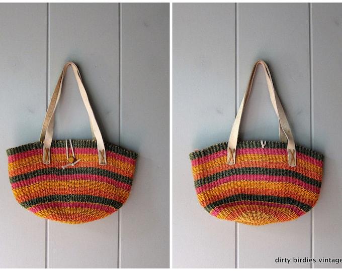 Colorful Woven Jute Bag