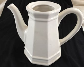 "Teapot with no Lid from Pfaltzgraff's ""Heritage White"" Pattern"