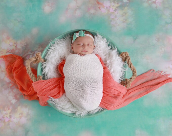 Felt Bow with Starfish Center Headband in Mint and White for all ages, frosted elastic, perfect for photoshoots by Lil Miss Sweet Pea