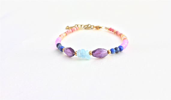 bracelet pierres fines : améthyste, lapis lazuli jade lavande pierre de lune