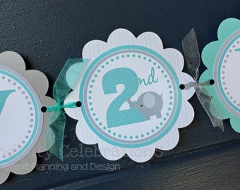 Personalized Door Sign Grey And Blue Elephant Party Sign