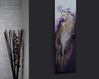 Tranquil Love, 12X48X1.75 Resin Epoxy Art on Wood Panel, Ready to Hang, Purple,White, Pink & Sand, Smokey, Contemporary Art, Modern