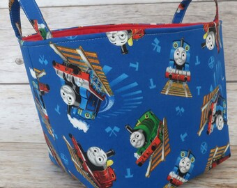 Fabric Organizer Bin Toy Storage Container Basket -  Thomas Train Percy Engine Fabric - 8 in x 8 in x 8 in - Kid Bedroom Decor