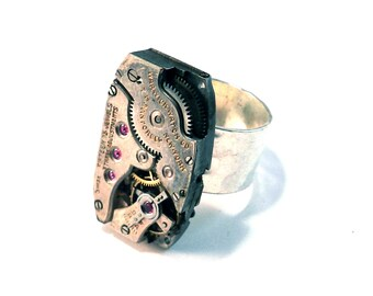 Clockwork Steampunk Ring - Antique Mechanical Watch Movement Hammered Band - Steampunk Jewelry by Compass Rose Design