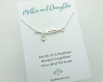 Mother Daughter Necklace, Birds of a Feather Necklace gift, Silver Birds on Branch charm bird necklace, gift for Friend, sisters necklace