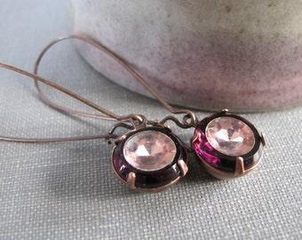 Purple Earrings, Dark Amethyst, Vintage Glass, Glass Earrings, Amethyst Glass, Copper Earrings, Purple Rhinestones, Dangle Earrings