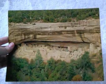 Cliff Dwelling Vintage 70s Oversized Postcard