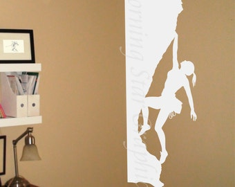 Decal, Extreme Sports, Rock Climbing, Female Climber Vinyl Decal Sticker, Interior Design, Room Decor, Home Mural Art  SP-119C