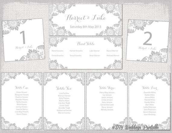 wedding seating chart template printable