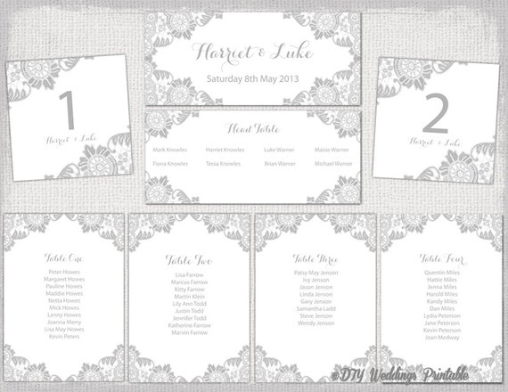 Wedding seating chart template silver gray antique maxwellsz