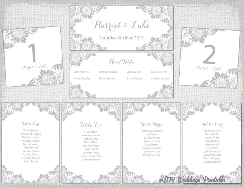 Wedding Seating chart template Silver Gray Antique