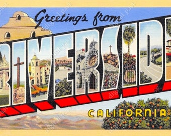 Greetings from palm springs california vintage postcard greetings from riverside california vintage postcard clipart image instant download retro large letter m4hsunfo Gallery