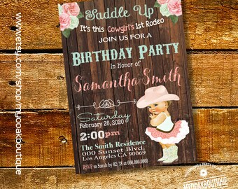 Rodeo chic etsy cowgirl vintage baby birthday invitation western first rodeo birthday invite pink glitter wood digital printable invitation filmwisefo