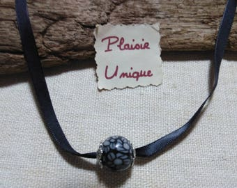 Black White Flower necklace and silver beads