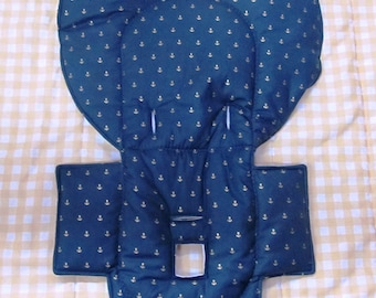 high chair cushion, Evenflo high chair cover replacement pad, cushion, baby furniture protector, baby and child care, gold anchors on navy