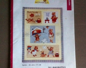 """pattern """"LES MARMOTS"""" patchwork with instructions"""