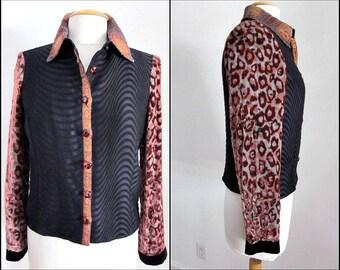 Taylor G Dallas Jacket / 90s Wearable Art Jacket / Vintage Devore Velvet Leopard Jacket / fits S / Taylor G Jacket