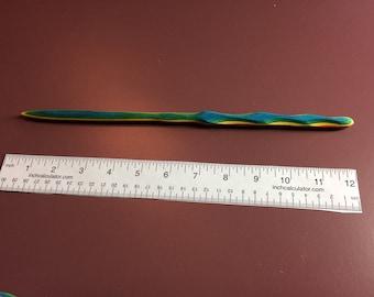"Rainbow Wood Wand - One of a Kind Gift 12"""