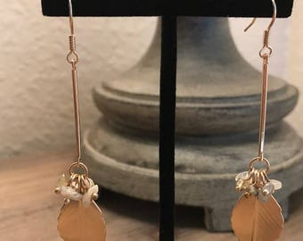 Long Gold Leaf, Drop Earring, Pink Gray Tan Beads, Hanging Earrings, Dangle Earrings, Jewelry
