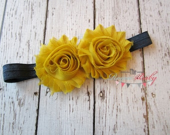 Mustard Yellow & Navy Blue Headband - Newborn Infant Baby Toddler Girls Adult Wedding