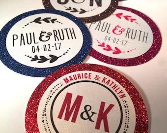 Round Favor tags, Monogram Tags, Custom, Baptism tags, Welcome bag tags, Monogram wedding tags, Enclosure Circular Medallion Tags.