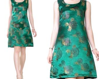 Brocade embroidery Fine desk evening knee length dress (M47)