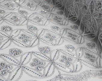 White/Silver Seamless Diamond with Sequin Embroidery Scalloped Edge