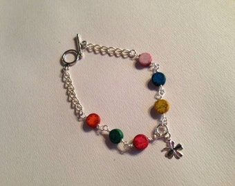 Turquoise Bracelet Clover Charm Jewelry Good Luck Multi Color Silver Gemstone Jewellery Chain Everyday