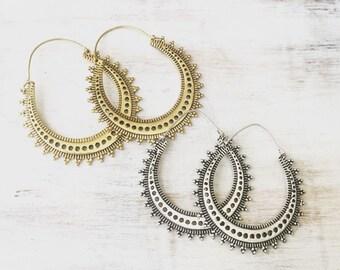 50% OFF Brass Tribal Earrings, Boho Earrings, Tribal Earrings, Hoop Earrings, Gold Earrings, Silver, Gipsy Earrings, Tribal Belly Dance.
