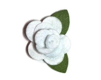 Small white Rose Dog Collar Flower Removable