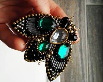 Handmade beaded bug brooch