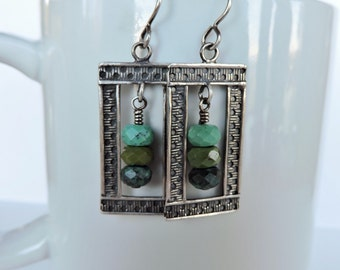 Sterling Silver Rectangle Frames with Genuine Chinese Turquoise