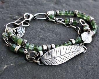 Sterling silver leaf bracelet, woodland bracelet, oxidized silver, woodland jewelry, green bracelet, multistrand bracelet